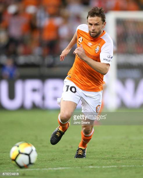 Brett Holman of Brisbane Roar runs with the ball during the round seven ALeague match between Brisbane Roar and Melbourne City at Suncorp Stadium on...