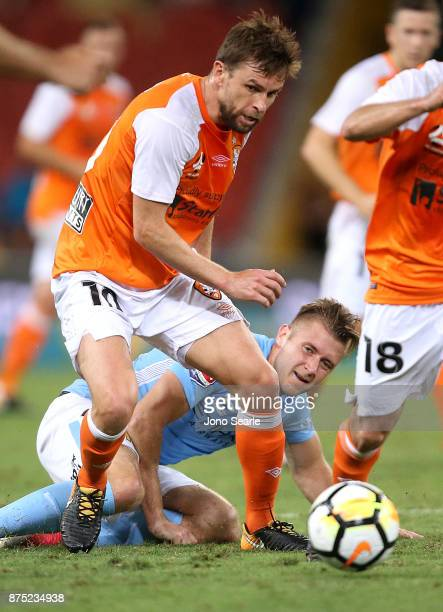 Brett Holman of the Brisbane Roar controls the ball during the round seven ALeague match between Brisbane Roar and Melbourne City at Suncorp Stadium...