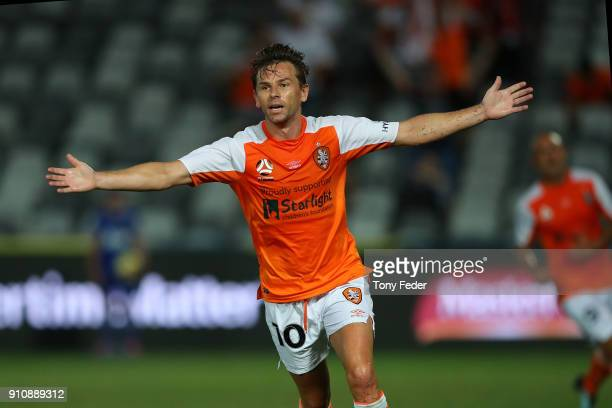 Brett Holman of the Roar celebrates a goal during the round 18 ALeague match between the Central Coast Mariners and the Brisbane Roar at Central...