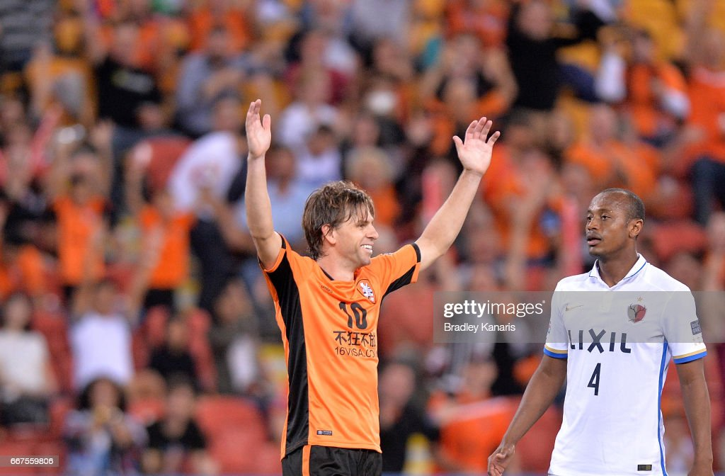 Brett Holman of the Roar celebrates scoring a goal during the AFC Asian Champions League Group Stage match between the Brisbane Roar and Kashima Antlers at Suncorp Stadium on April 12, 2017 in Brisbane, Australia.