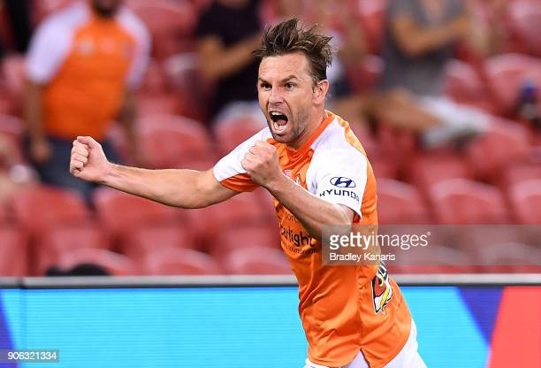 Brett Holman of the Roar celebrates scoring a goal during the round 17 ALeague match between the Brisbane Roar and the Perth Glory at Suncorp Stadium...
