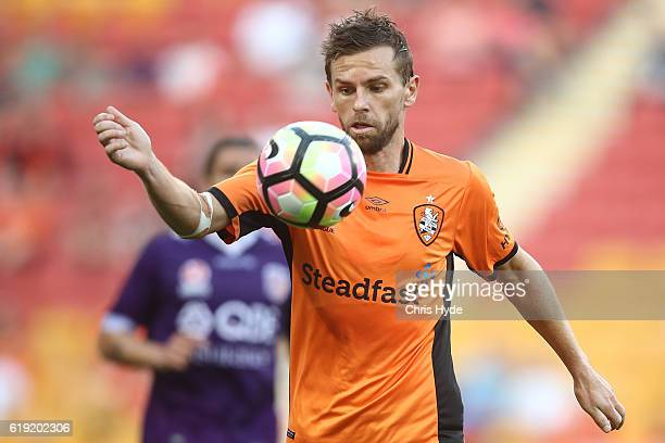 Brett Holman of the Roar controls the ball during the round four ALeague match between the Brisbane Roar and Perth Glory at Suncorp Stadium on...