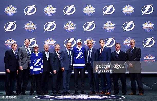 Brett Howden celebrates with the Tampa Bay Lightning after being selected 27th overall during round one of the 2016 NHL Draft on June 24 2016 in...