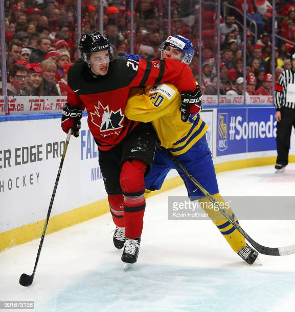 Brett Howden of Canada and Isac Lundestrm of Sweden fight for position during the Gold medal game of the IIHF World Junior Championship at KeyBank...