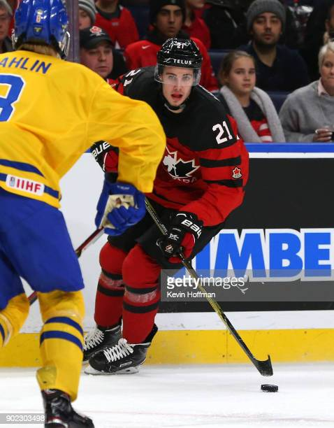 Brett Howden of Canada in play against Sweden during the Gold medal game of the IIHF World Junior Championship at KeyBank Center on January 5 2018 in...