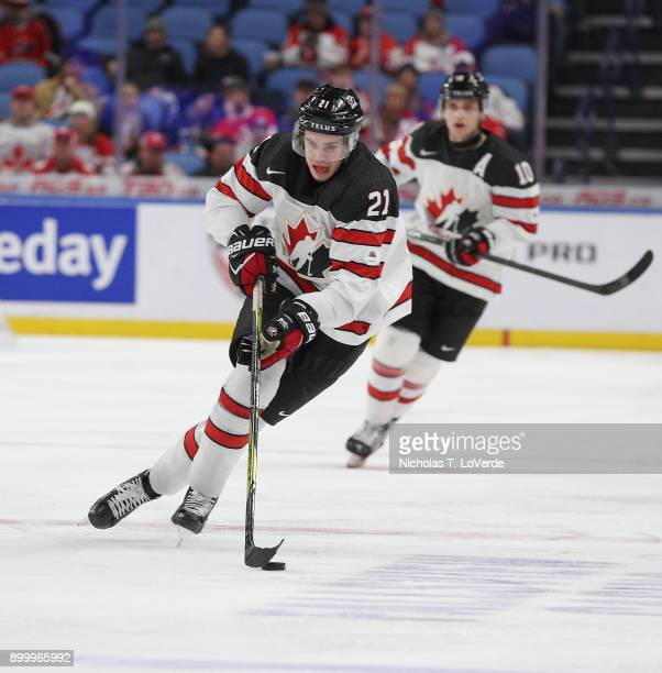 Brett Howden of Canada skates up ice with the puck during the third period of play in the IIHF World Junior Championships at the KeyBank Center on...