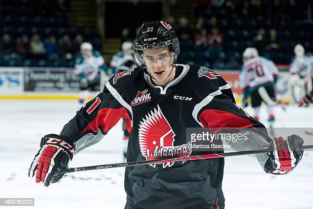 Brett Howden of Moose Jaw Warriors warms up against the Kelowna Rockets on February 14 2015 at Prospera Place in Kelowna British Columbia Canada