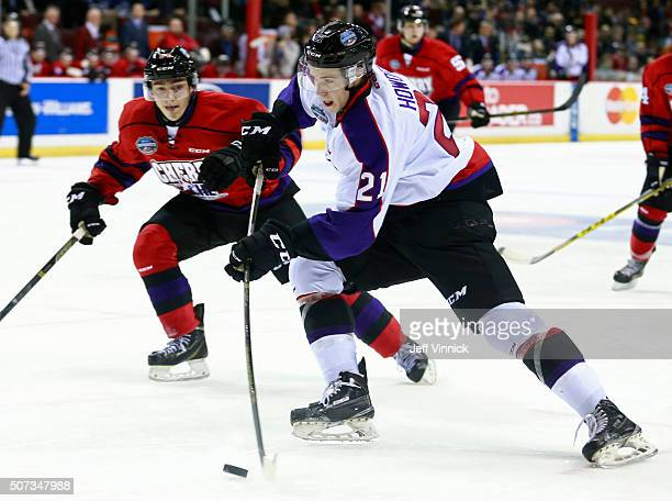 Brett Howden of Team Orr takes a shot during the CHL/NHL Top Prospects Game January 28 2016 at Pacific Coliseum in Vancouver British Columbia Canada...