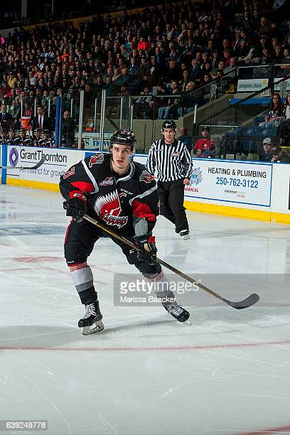 Brett Howden of the Moose Jaw Warriors looks for the pass against the Kelowna Rockets on January 18 2017 at Prospera Place in Kelowna British...