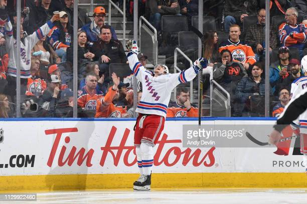 Brett Howden of the New York Rangers celebrates after scoring a goal during the game against the Edmonton Oilers on March 11, 2019 at Rogers Place in...