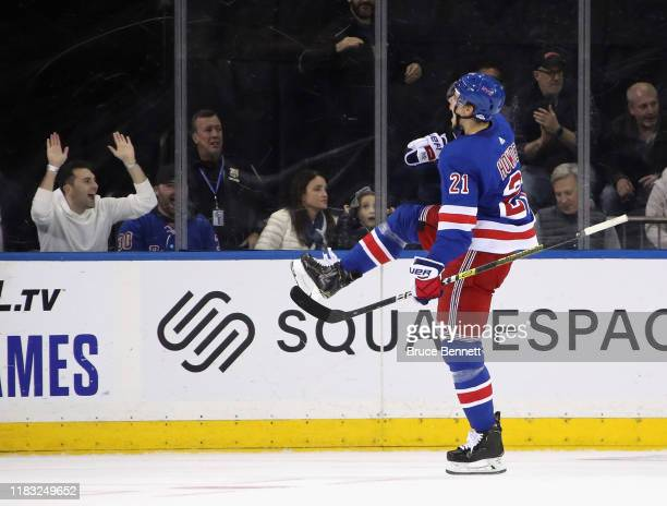 Brett Howden of the New York Rangers celebrates his first period goal against the Buffalo Sabres at Madison Square Garden on October 24, 2019 in New...