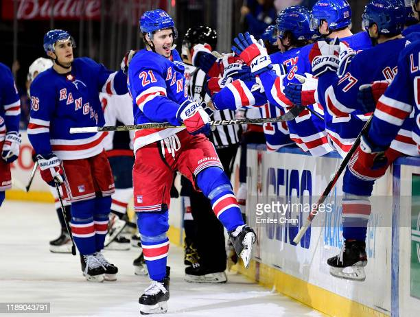 Brett Howden of the New York Rangers celebrates his goal in the third period of their game against the Washington Capitals at Madison Square Garden...