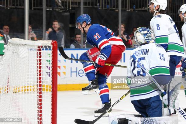 Brett Howden of the New York Rangers reacts after scoring a goal in the third period against Jacob Markstrom of the Vancouver Canucks at Madison...