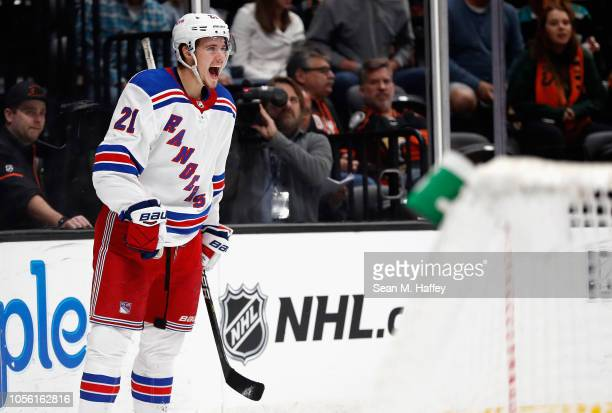 Brett Howden of the New York Rangers reacts to scoring a goal during the second period of a game against the Anaheim Ducks at Honda Center on...