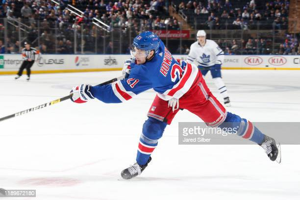 Brett Howden of the New York Rangers shoot the puck against the Toronto Maple Leafs at Madison Square Garden on December 20, 2019 in New York City.