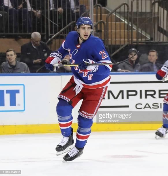 Brett Howden of the New York Rangers skates against the Detroit Red Wings at Madison Square Garden on March 19, 2019 in New York City. The Red Wings...