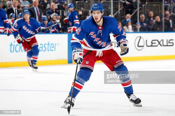 Brett Howden of the New York Rangers skates against the Detroit Red Wings at Madison Square Garden on January 31, 2020 in New York City.