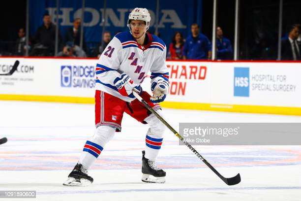 Brett Howden of the New York Rangers skates against the New York Islanders at Barclays Center on January 12, 2019 the Brooklyn borough of New York...