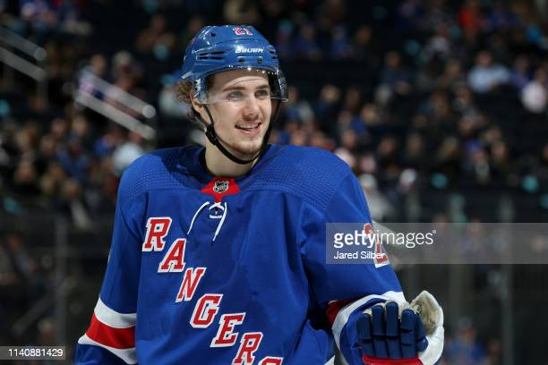 Brett Howden of the New York Rangers skates against the Ottawa Senators at Madison Square Garden on April 3, 2019 in New York City.