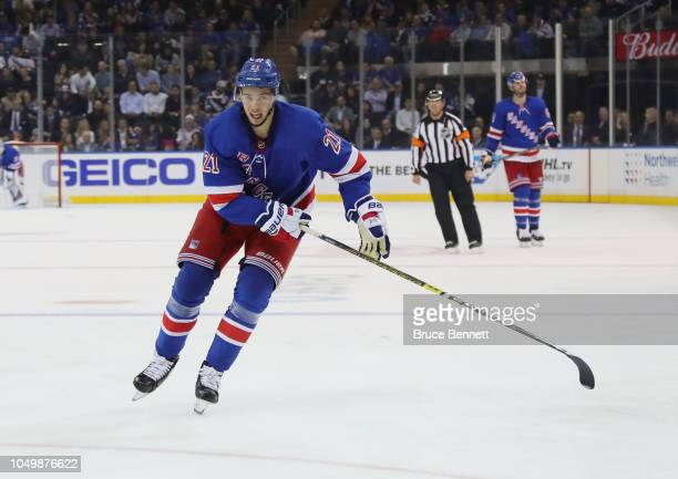 Brett Howden of the New York Rangers skates in his first NHL game against the Nashville Predators at Madison Square Garden on October 04 2018 in New...