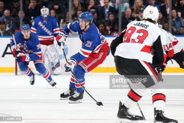 Brett Howden of the New York Rangers skates with the puck against the Ottawa Senators at Madison Square Garden on April 3, 2019 in New York City.