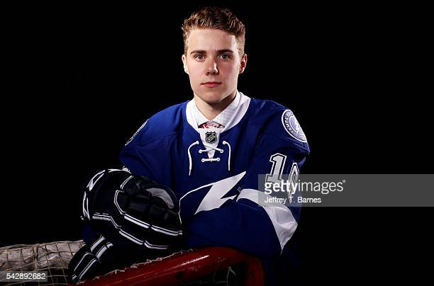Brett Howden poses for a portrait after being selected 27th overall by the Tampa Bay Lightning in round one during the 2016 NHL Draft on June 24 2016...