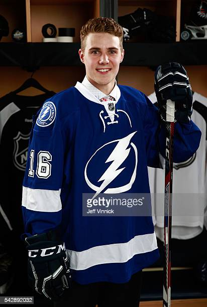 Brett Howden selected 27th overall by the Tampa Bay Lightning poses for a portrait during round one of the 2016 NHL Draft at First Niagara Center on...