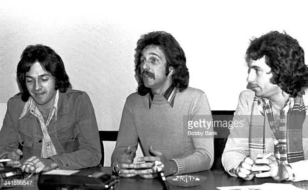 Brett Hudson Mark Hudson and Bill Hudson during Hudson Brothers Press Conference November 11 1975 at Press Conference in New York City New York...