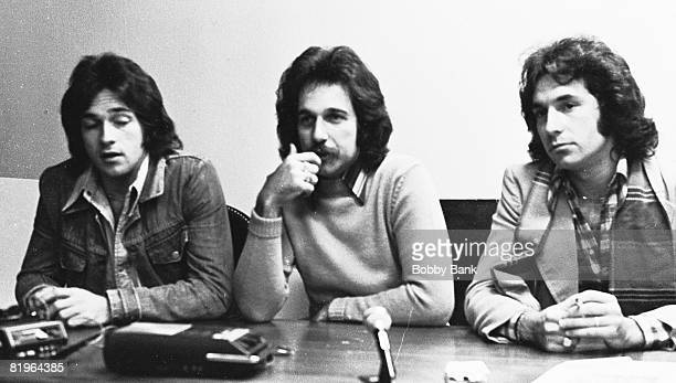 Brett Hudson Mark Hudson and Bill Hudson of the Hudson Brothers during a press conference at MCA Records November 20 1975 in New York City