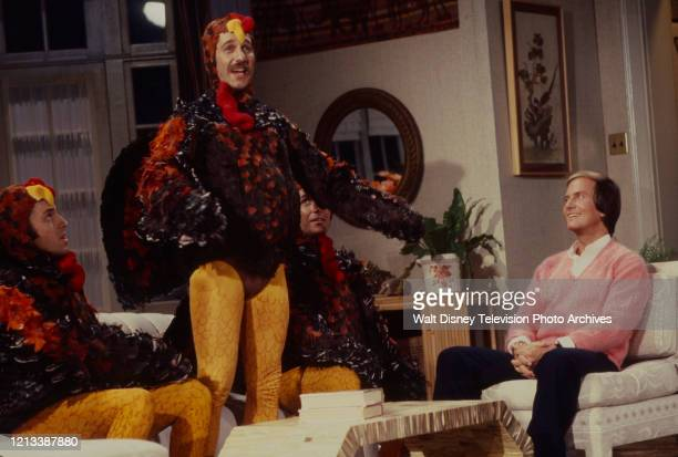 Brett Hudson Mark Hudson Bill Hudson the Hudson Brothers dressed as turkeys Pat Boone appearing on the ABC tv special 'Pat Boone and Family...