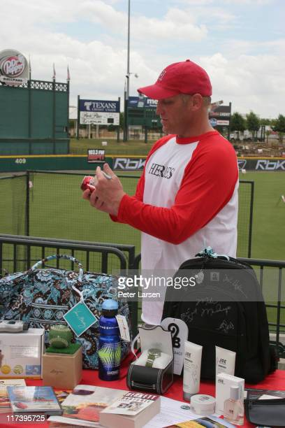 Brett Hull during Klein Creative Communications Provides Gift Bags at the 2006 Reebok Heroes Celebrity Baseball Game at Dr. Pepper Ballpark in...