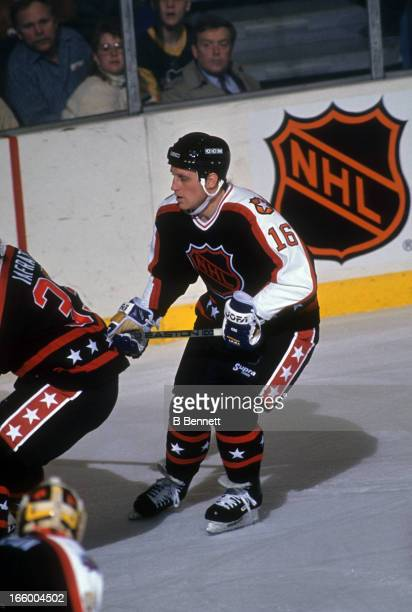 Brett Hull of the Campbell Conference and St. Louis Blues skates on the ice during the 1990 41st NHL All-Star Game against the Wales Conference on...