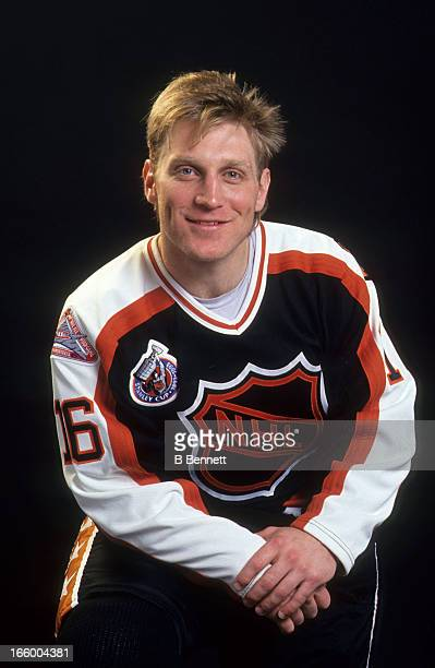 Brett Hull of the Campbell Conference and the St. Louis Blues poses for a portrait before the 1993 44th NHL All-Star Game against the Wales...