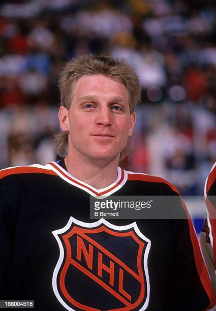 Brett Hull of the Campbell Conference and the St. Louis Blues poses for a portrait before the 1990 41st NHL All-Star Game against the Wales...