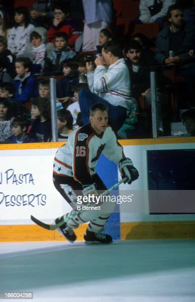 Brett Hull of the Campbell Conference and the St. Louis Blues skates on the ice during warm-ups before the 1989 40th NHL All-Star Game agiainst the...