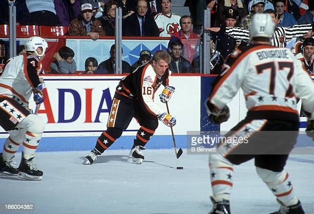 Brett Hull of the Campbell Conference and the St. Louis Blues skates with the puck during the 1993 44th NHL All-Star Game against the Wales...