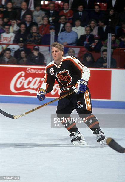 Brett Hull of the Campbell Conference and the St. Louis Blues skates on the ice during the 1993 44th NHL All-Star Game against the Wales Conference...