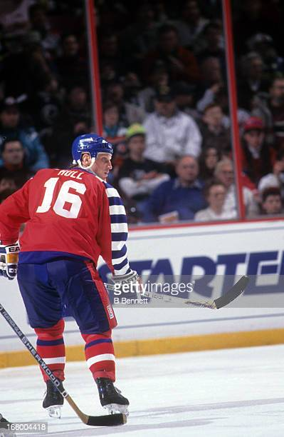 Brett Hull of the Campbell Conference and the St. Louis Blues skates on the ice during the 1992 43rd NHL All-Star Game against the Wales Conference...
