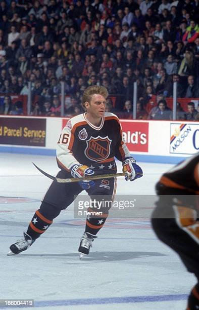Brett Hull of the Campbell Conference and the St. Louis Blues skates on ice during the 1993 44th NHL All-Star Game against the Wales Conference on...