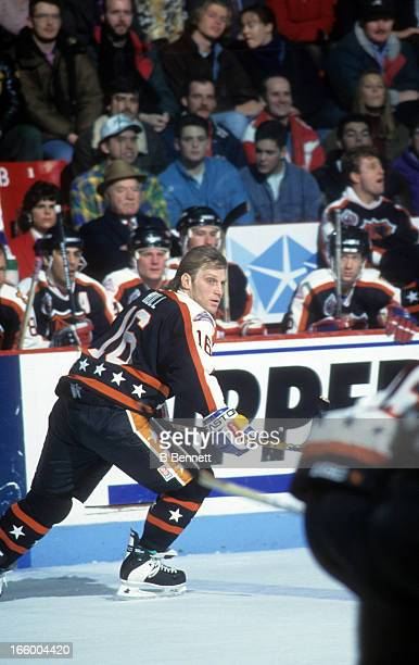 Brett Hull of the Campbell Conference and the St Louis Blues skates on ice during the 1993 44th NHL AllStar Game against the Wales Conference on...