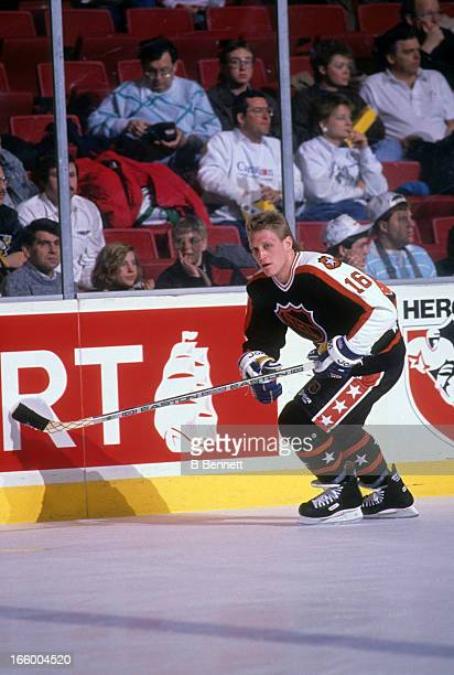 Brett Hull of the Campbell Conference and the St. Louis Blues skates on the ice during warm-ups before the 1990 41st NHL All-Star Game against the...