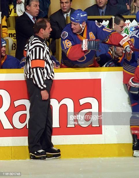 Brett Hull of the St. Louis Blues has a chat with referee Paul Divorski against the Toronto Maple Leafs during NHL game action on December 3, 1996 at...
