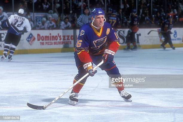 Brett Hull of the St Louis Blues in position during a hockey game against the Washington Capitals on March 25 1997 at USAir Arena in Landover MD The...