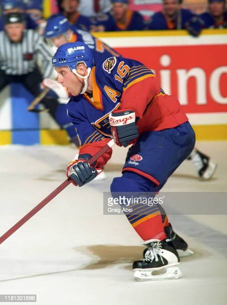 Brett Hull of the St. Louis Blues skates against the Toronto Maple Leafs during NHL game action on December 3, 1996 at Maple Leaf Gardens in Toronto,...