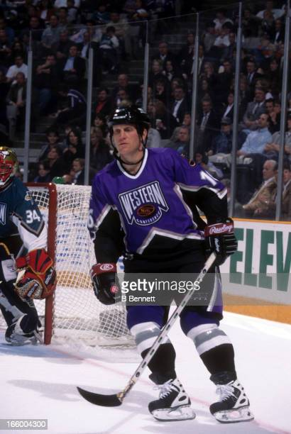 Brett Hull of the Western Conference and St. Louis Blues skates on the ice during the 1997 47th NHL All-Star Game against the Eastern Conference on...