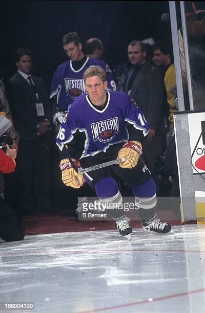 Brett Hull of the Western Conference and the St. Louis Blues is introduced before the 1996 46th NHL All-Star Game against the Eastern Conference on...