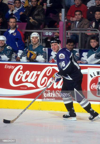 Brett Hull of the Western Conference and the St. Louis Blues skates on the ice during the 1994 45th NHL All-Star Game against the Eastern Conference...