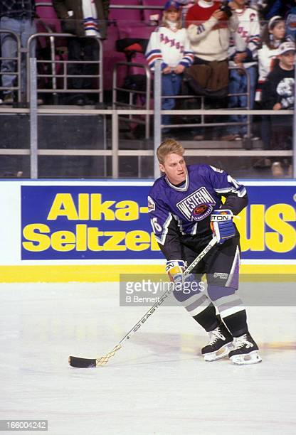 Brett Hull of the Western Conference and the St. Louis Blues skates on the ice during warm-ups before the 1994 45th NHL All-Star Game against the...