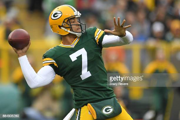 Brett Hundley of the Green Bay Packers drops back to pass during the first half against the Tampa Bay Buccaneers at Lambeau Field on December 3 2017...