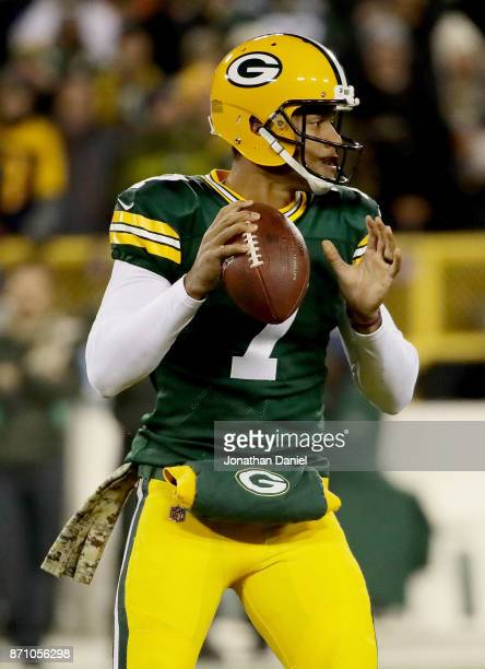 Brett Hundley of the Green Bay Packers drops back to pass in the first quarter against the Detroit Lions at Lambeau Field on November 6 2017 in Green...